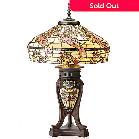430-455 - Tiffany-Style 32.75'' Cordulia Stained Glass Double-Lit Table Lamp