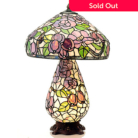 430-456 - Tiffany-Style 24.5'' Periwinkle Stained Glass Double Lit Table Lamp