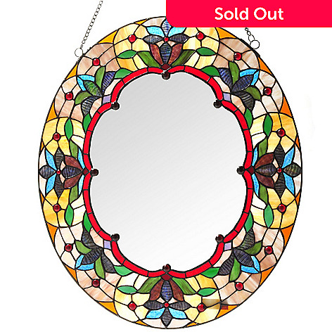 430-458 - Tiffany-Style 24'' Floral Love Knot Stained Glass Mirror