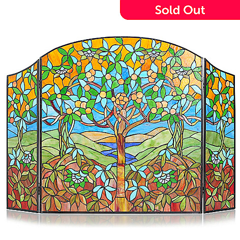 430-459 - Tiffany-Style 30.5'' Tree of Life Stained Glass Fireplace Screen