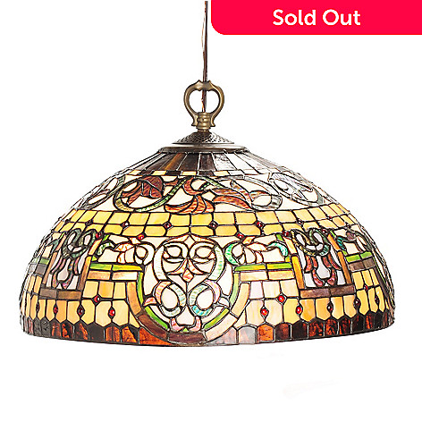 430-460 - Tiffany-Style 17.75'' Bridgeport Stained Glass Hanging Lamp