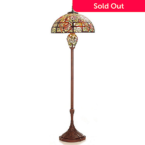 430-461 - Tiffany-Style 64.75'' Climbing Roses Stained Glass Floor Lamp