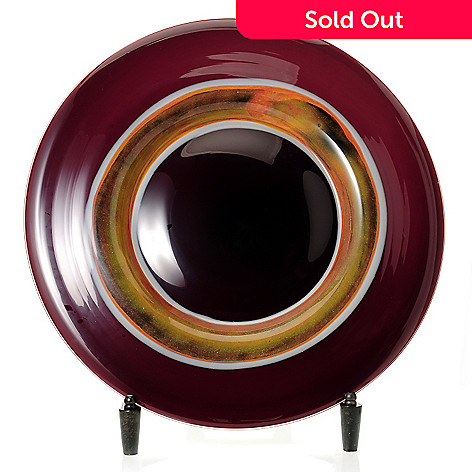 430-469 - Favrile Melrose 20'' Hand-Blown Art Glass Charger w/ Stand