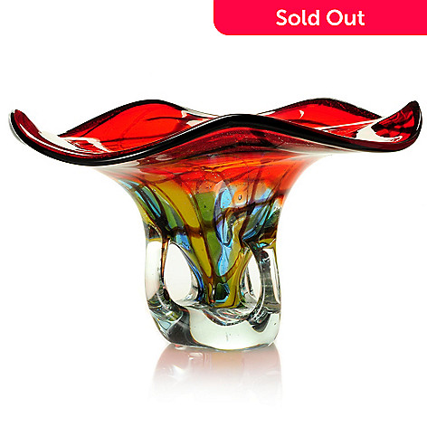 430-696 - Favrile 9'' Hand-Blown Art Glass Ruffle Bowl