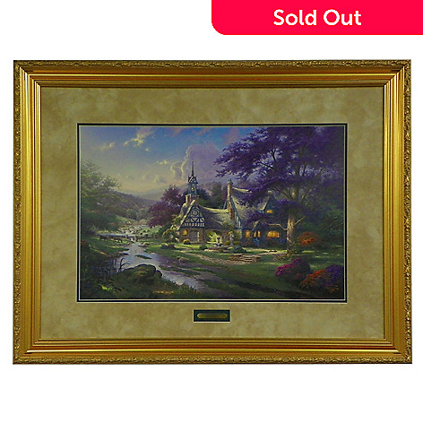 430-714 - Thomas Kinkade ''Clocktower Cottage'' 18'' x 27'' Limited Edition Framed Print