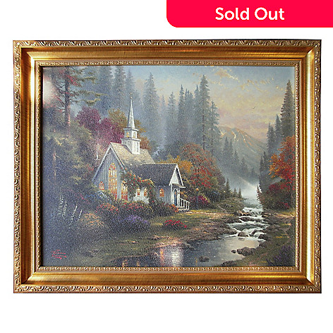 430-718 - Thomas Kinkade ''Forest Chapel'' 23-1/2'' x 19-1/2'' Framed Textured Print