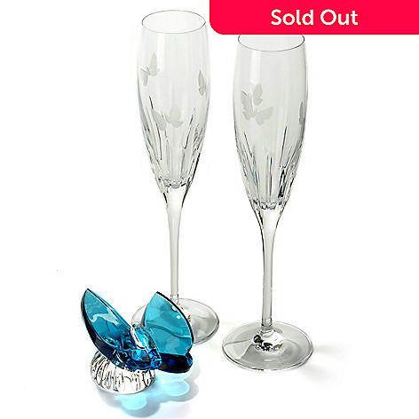 430-860 - Waterford Crystal Three-Piece Signed Butterfly Figurine & Toasting Flutes