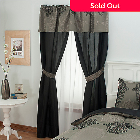 430-966 - North Shore Linens™ Jacquard Five-Piece Window Set
