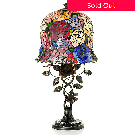 431-047 - Tiffany-Style 27'' Rosa 3D Stained Glass Table Lamp