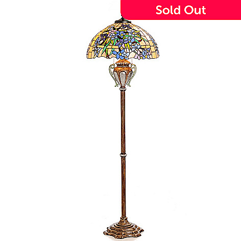 431-049 - Tiffany-Style 64.5'' Flowering Lily Stained Glass Floor Lamp