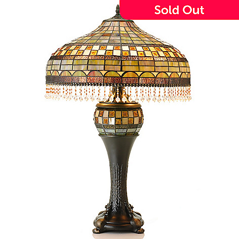 431-051 - Tiffany-Style 28.5'' Double Beaded Aquastone Stained Glass Table Lamp