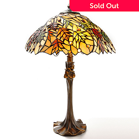 431-053 - Tiffany-Style 23'' Autumn Maple Stained Glass Table Lamp