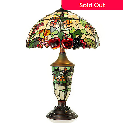 431-055 - Tiffany-Style 26'' Fruitage Stained Glass Double Lit Table Lamp