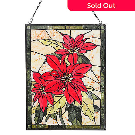 431-056 - 24'' x 18'' Poinsettia Jade Window Panel