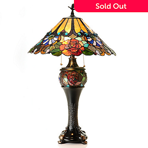 431-068 - Tiffany-Style 30'' Carnival Rose Double Lit Stained Glass Table Lamp