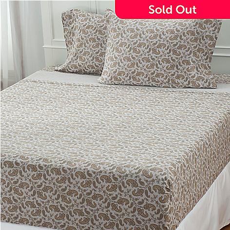 431-160 - North Shore Linens™ Four-Piece Portuguese Cotton Flannel Paisley Sheet Set