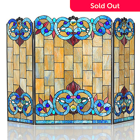 431-182 - Tiffany-Style 28'' Corrista Stained Glass Fireplace Screen