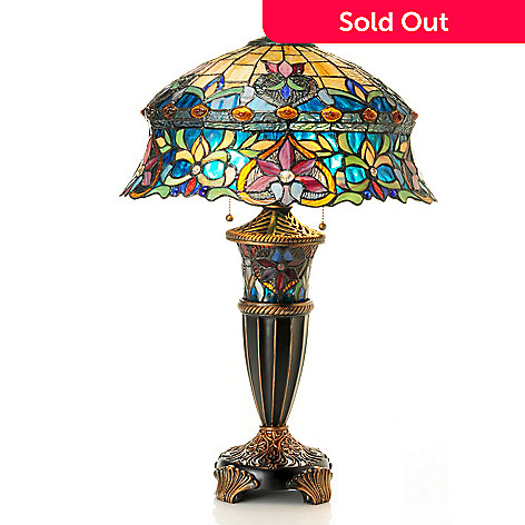 431-190 - Tiffany-Style 27.5'' Darien Double-Lit Stained Glass Table Lamp