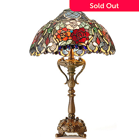 431-194 - Tiffany-Style 30'' Stormy Rose Stained Glass Table Lamp