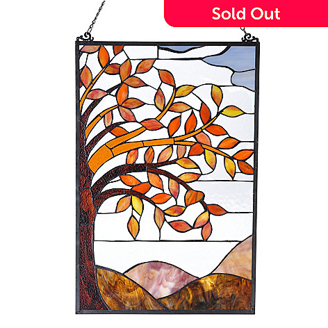 431-234 - Tiffany-Style 24'' x 16'' Autumn Leaves Stained Glass Window Panel