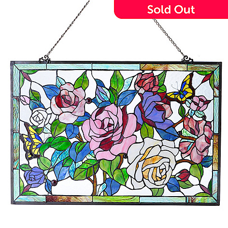 431-235 - Tiffany-Style 18.75'' x 27.25'' Rainbow of Roses Hanging Stained Glass Window Panel