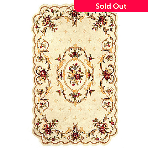 431-276 - Global Rug Gallery™ Hand-Tufted 100% Wool Floral Aubusson-Style Rug