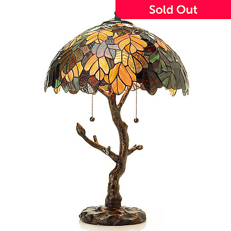 431-317 - Tiffany-Style 24'' Autumn's Oak Stained Glass Table Lamp