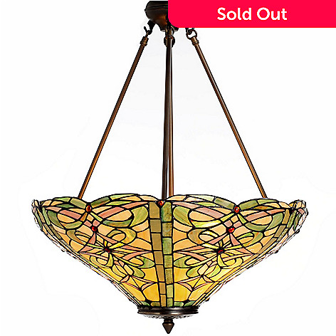 431-318 - Tiffany-Style 26'' Braided Ribbons Stained Glass Hanging Lamp