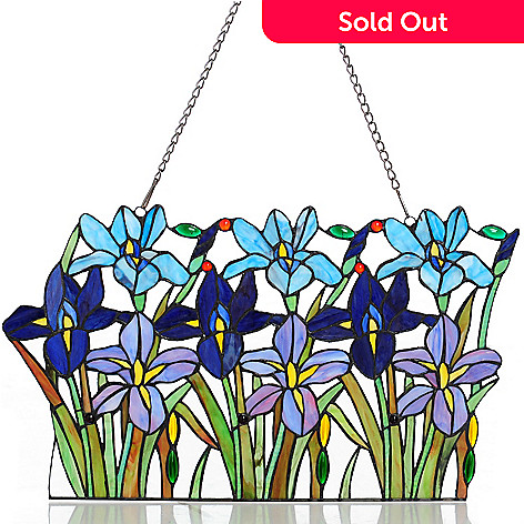 431-319 - Tiffany-Style 14'' Field of Irises Stained Glass Window Panel