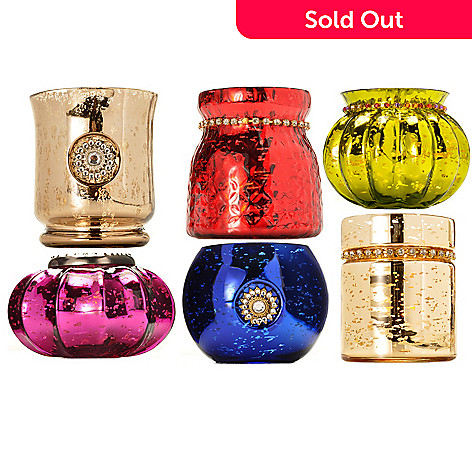 431-409 - Style at Home with Margie ''Elina'' Set of Six Mercury Glass Candle Holders