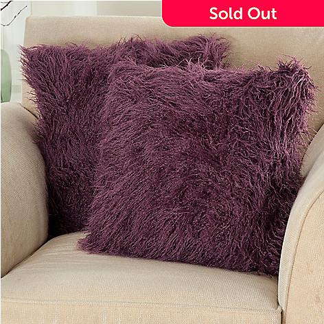 431-417 - North Shore Linens™ Set of Two Faux Lamb Fur Decorative Pillows