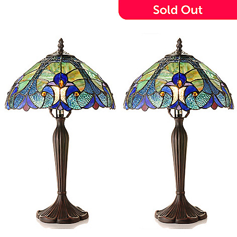 431-423 - Tiffany-Style Set of Two 19.5'' Halston Stained Glass Accent Lamps