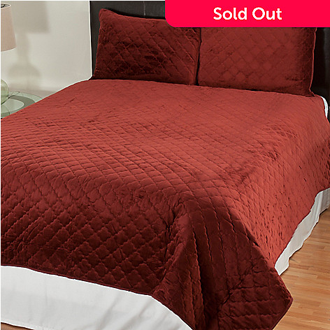 431-487 - Cozelle® Quilted Velvet Microplush Three-Piece Coverlet Set