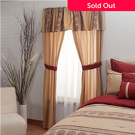 431-501 - North Shore Linens™ Stripe & Medallion Five-Piece Window Set