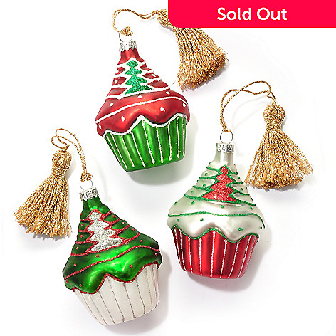 431-551 - Marquis by Waterford Set of Three 3.5'' Blown Glass Cupcake Ornaments