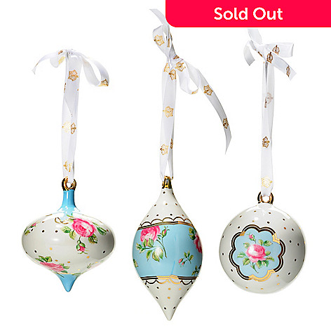 431-553 - Royal Albert Polka Blue Set of Three Ornaments