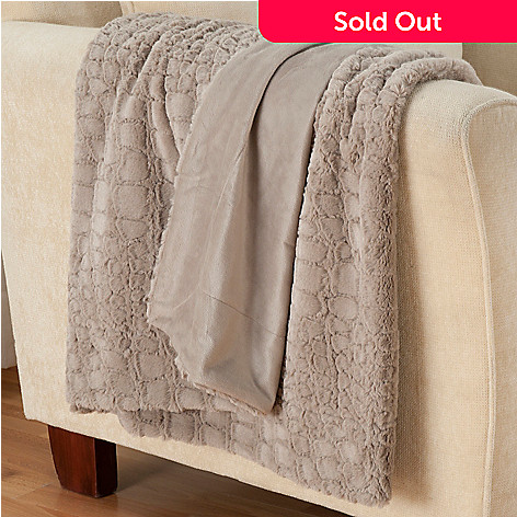 431-580 - North Shore Linens™ ''Allie'' 70'' x 50'' Textured Faux Fur Oversized Throw