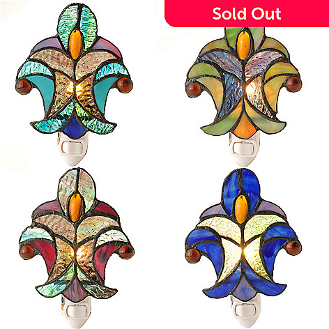 431-628 - Tiffany-Style Set of Four 6'' Halston Stained Glass Nightlights