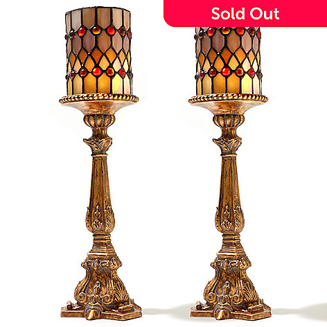 431-800 - Tiffany-Style Set of Two 17.25'' Flameless Candle Holders