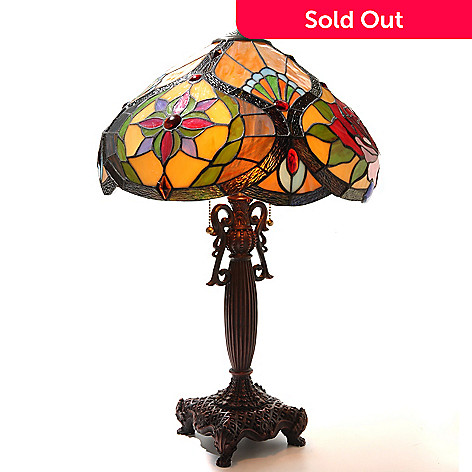 431-802 - Tiffany-Style 26'' Alex Rose Stained Glass Table Lamp