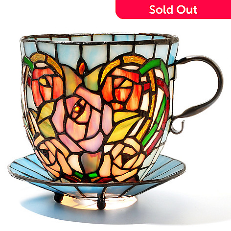 431-820 - Tiffany-Style 6.25'' Rosalee Stained Glass Teacup Accent Lamp