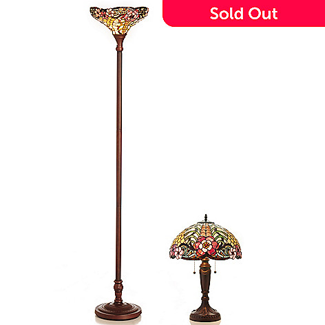 431-823 - Tiffany-Style Costanza Stained Glass Torchiere & Table Lamp Set