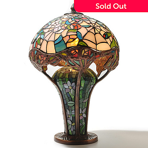 431-825 - Tiffany-Style 19'' Cobweb Stained Glass Table Lamp