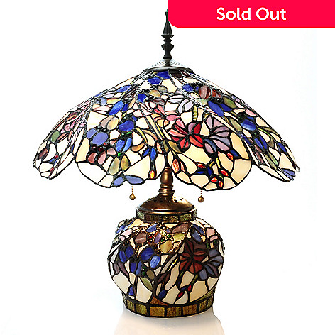 431-831 - Tiffany-Style 21.5'' Floral Swirl Double Lit Stained Glass Table Lamp