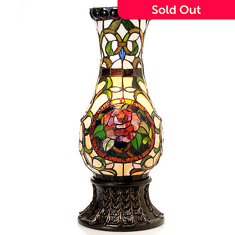 431-832 - Tiffany-Style 24'' Silvia Rose Stained Glass Vase Lamp