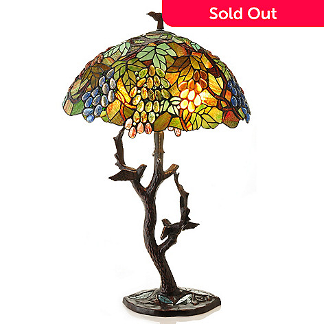 431-833 - Tiffany-Style 34'' Sparrow's Haven Stained Glass Table Lamp