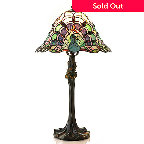 431-835 - Tiffany-Style 22.5'' Peacock Trio Stained Glass Table Lamp