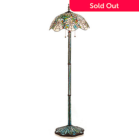 431-838 - Tiffany-Style 64'' Cobweb Stained Glass Floor Lamp