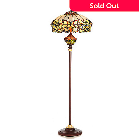 431-839 - Tiffany-Style 64'' Rosano Double Lit Stained Glass Floor Lamp