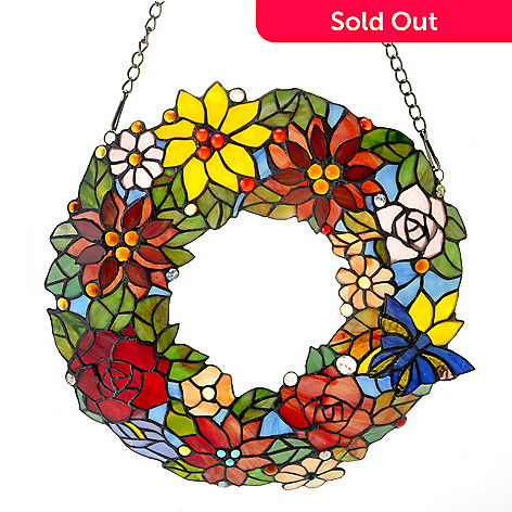 431-842 - Tiffany-Style 15'' 3D Floral Wreath Stained Glass Window Panel